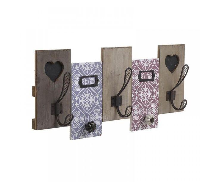 Κρεμάστρα τοίχου πολλών θέσεων από ξύλο έλατου, σε ροζ-μπλε-καφέ απόχρώσεις και ρομαντική-vintage διάθεση.  Διαστάσεις προϊόντος: 55X9X26