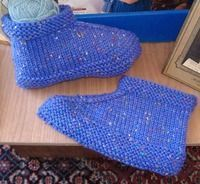 : Two Needle Slippers, my grandmother used to make these for all the grand kids.