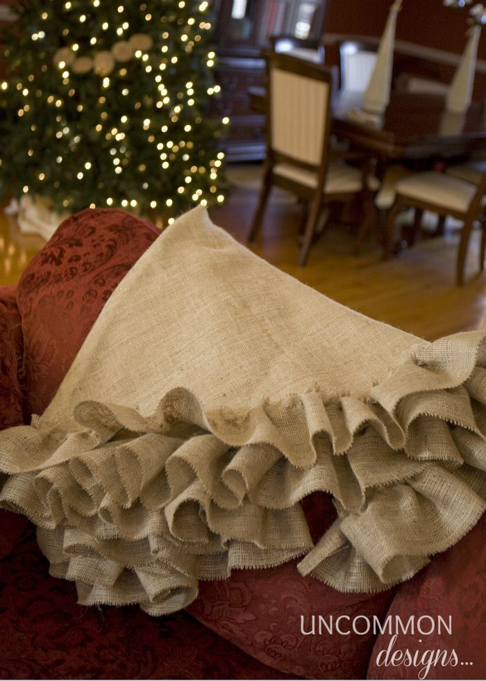 Excellent Tutorial For No Sew Burlap Tree Skirt!! Love how natural this looks!!