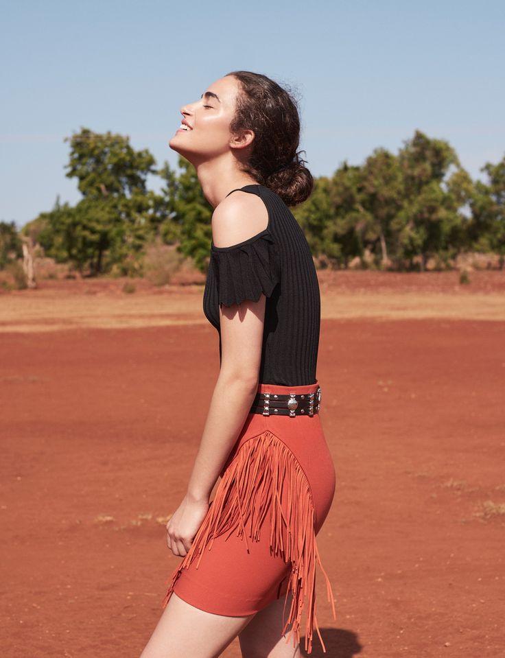Modern Safari Inspiration, MARION stretch knit jumper, AMINATA leather belt & JANO fringed skirt, SS17