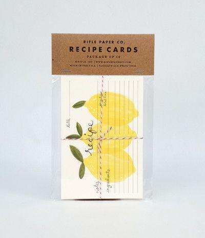 Rifle Paper Co Recipe Cards Set of 12 - Lemons