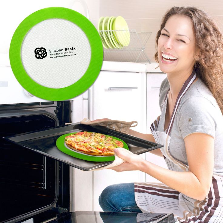 "SILICONE BAKING MAT SET COOLING RACK ACCESSORY - 1 Rectangular (Half Sheet 16.5"" x 11 5/8"") /1 Round (9"" Perfect Mini Pizza Dough Tool) 2 Mats Non-Slip with Printed Border Ruler (Inches & Cm's) by GetBacktoBasix"
