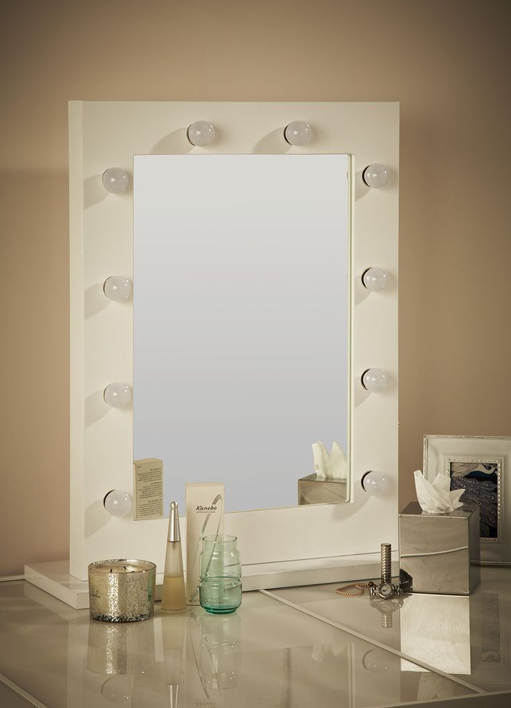 White Hollywood Mirror with Light Bulbs                                                                                                                                                     More