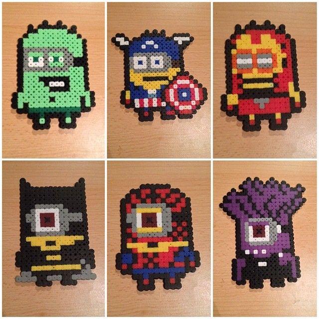 Minions Avengers, Minion Batman and evil Minion hama perler beads by avisto1