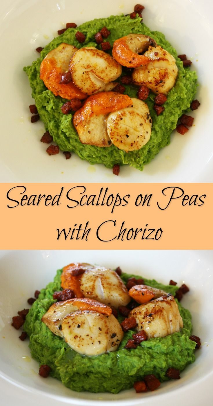 Seared Scallops on Peas with Chorizo. Scallops on a minted pea puree with cubes of Chorizo then garnished with truffle oil.