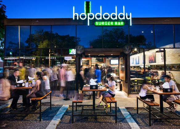 The original Hopdoddy on Austin's hoppin' South Congress Ave. Photo by Nick Simonite.