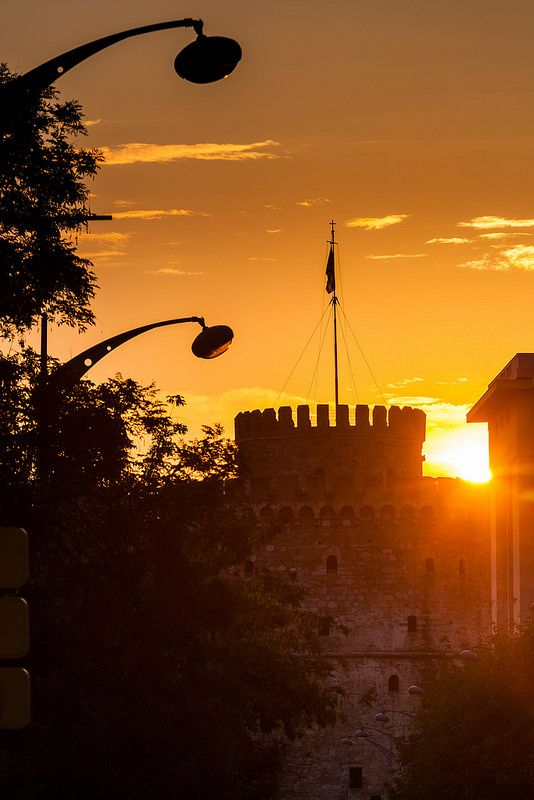 Sunset at the White Tower, Thessaloniki Greece
