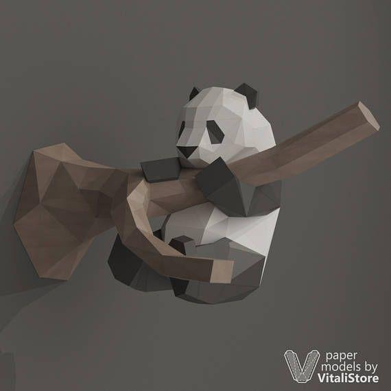 DIY Papercraft Panda, Low Poly Papercraft, Panda Papercraft, Panda Paper Craft, DIY Reward, 3D Origami, 3D Paper Sculpture, Panda Wall Decor