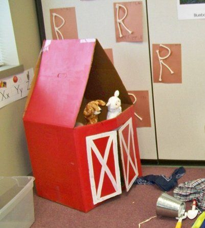 This puppet barn was made from a large moving box. The animal puppets were purchased at a dollar store. Additional props include plaid shirts, bandanas, shovels, plastic plants, etc. Growing in Pre K - Dramatic Play