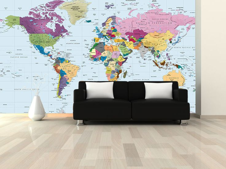 20 best map murals wallpaper maps images on pinterest murals world political map wall mural in room this colorful world political wall map mural illustrates gumiabroncs Gallery
