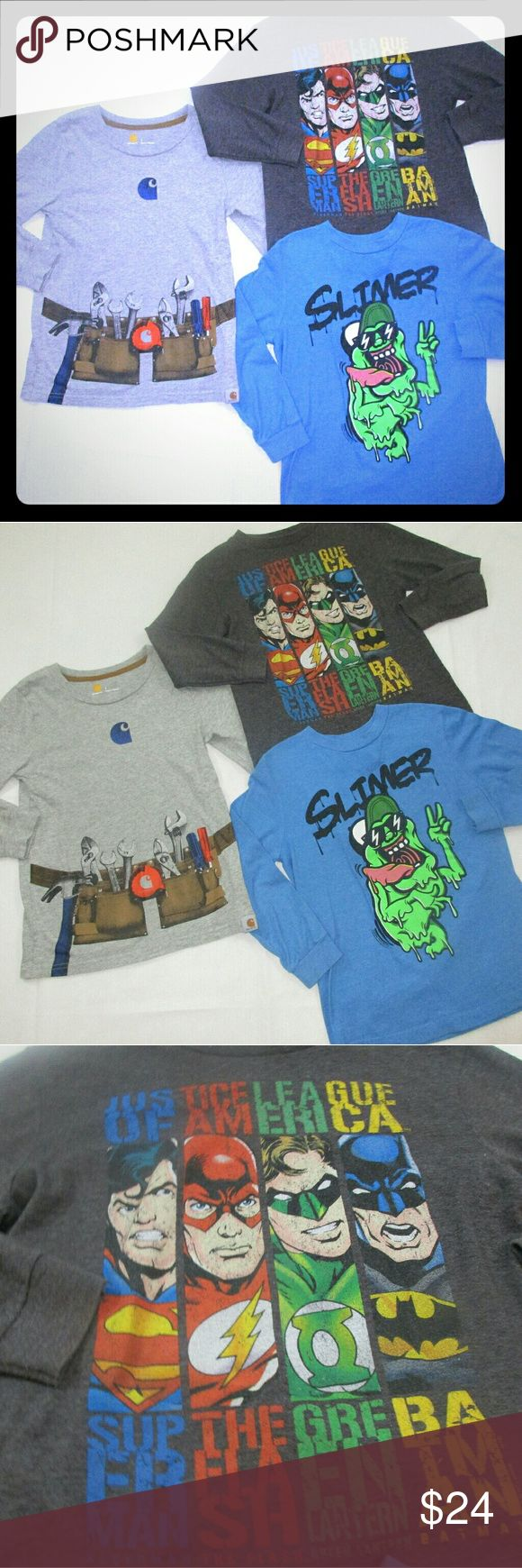 Lot of boys shirts size 7 Carhartt batman superman 3 Longsleeve shirts  Carhartt  Old Navy graphic  Marvel Comics Superheros  Guarantee your little guy will love ALL 3!  PLEASE MAKE OFFERS  THROUGH BUTTON.   TRADES ALSO WELCOME ESPECIALLY BOYS SIZES 2T 3T OR 14/16 Carhartt Shirts & Tops Tees - Long Sleeve