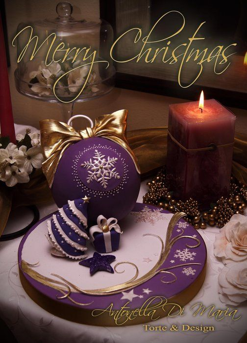 Christmas Bauble Cake Images : 17 Best images about Purple and Gold Christmas Decorations ...