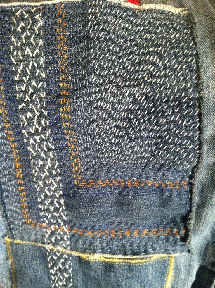 Sashiko repair to some old jeans. | wyszyte | Pinterest ...