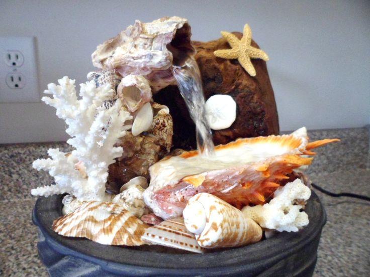 Water Fountain - California Splash - Indoor Table Top Ocean Beach home decor sea shell art housewarming gift woman man unisex. $185,00, via Etsy.