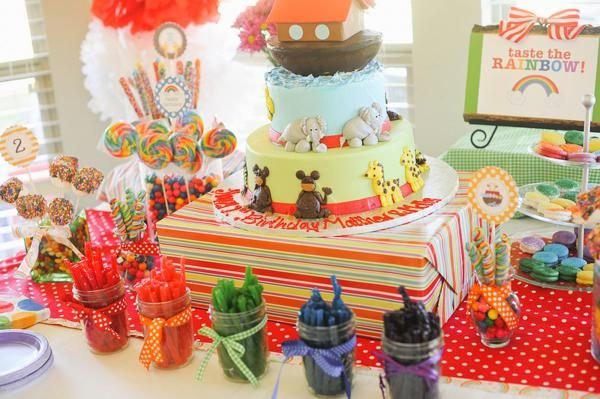 Kara's Party Ideas Noah's Ark Animal Rainbow Twins Birthday Party Cake Planning Ideas