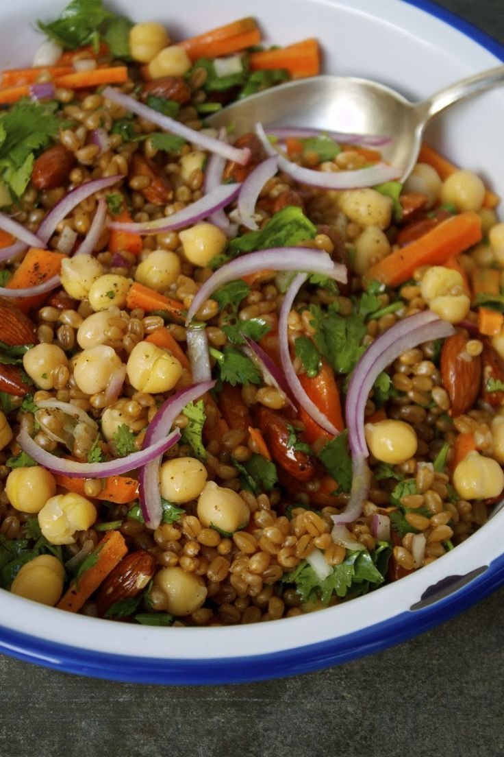 Super Chickpea + Wheat Berry Veggie Salad | In Pursuit of More                                                                                                                                                                                 More
