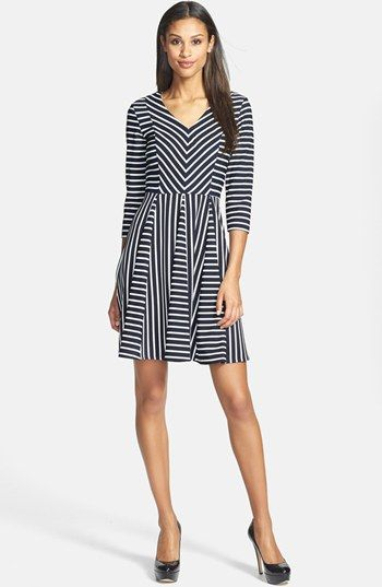 Gabby Skye Stripe Ponte Fit & Flare Dress available at #Nordstrom