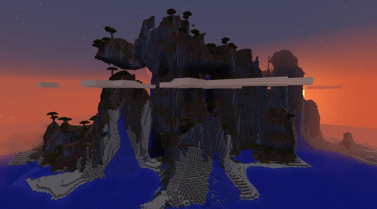 Cool extreme hill / stone beach at dusk... (Minecraft 1.8 seed)