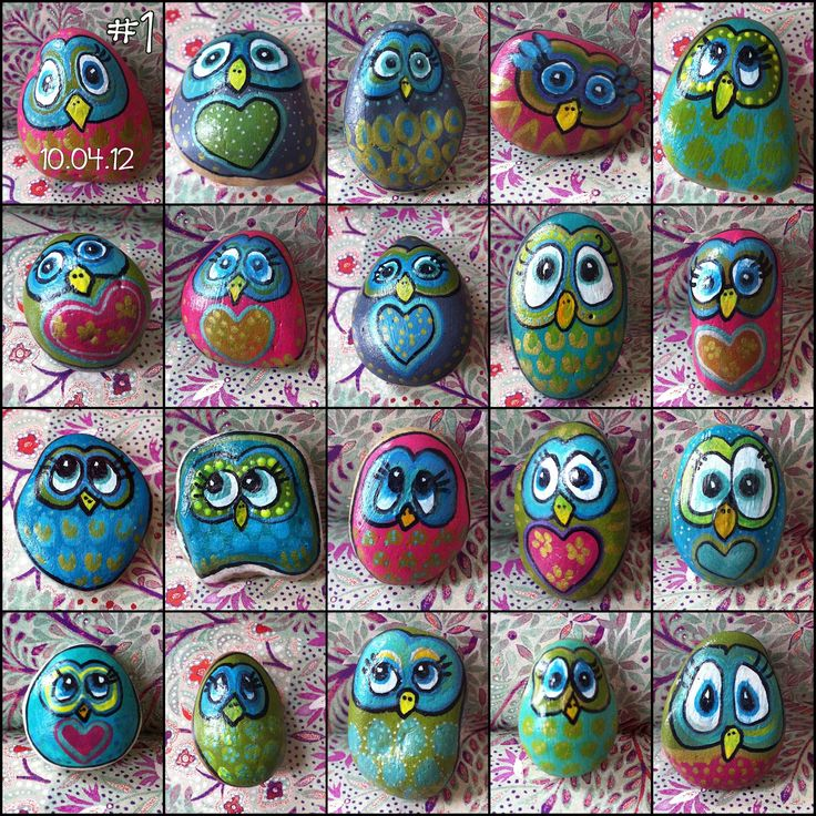 fun little owl  faces painted on rocks