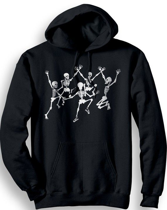Black Dancing Skeletons Hoodie Size Medium by banyantreeclothing These dancing skeletons are printed with white, glo-in-the dark ink on a black cotton hoodie.*  Our subtle glow in the dark ink uses a glowing material that after being exposed to light will absorb that light energy and then slowly release it over time. These glow in the dark inks will glow up to 4 hours in total darkness.  All shirts are original designs and hand screen printed in my studio in Eugene, Oregon.
