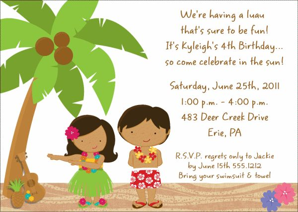 Image Detail For Beach Luau Birthday Party Invitation