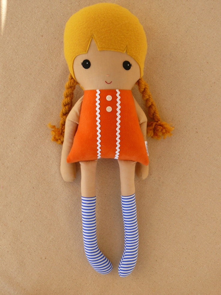 Fabric Doll Rag Doll Girl with Golden Braids