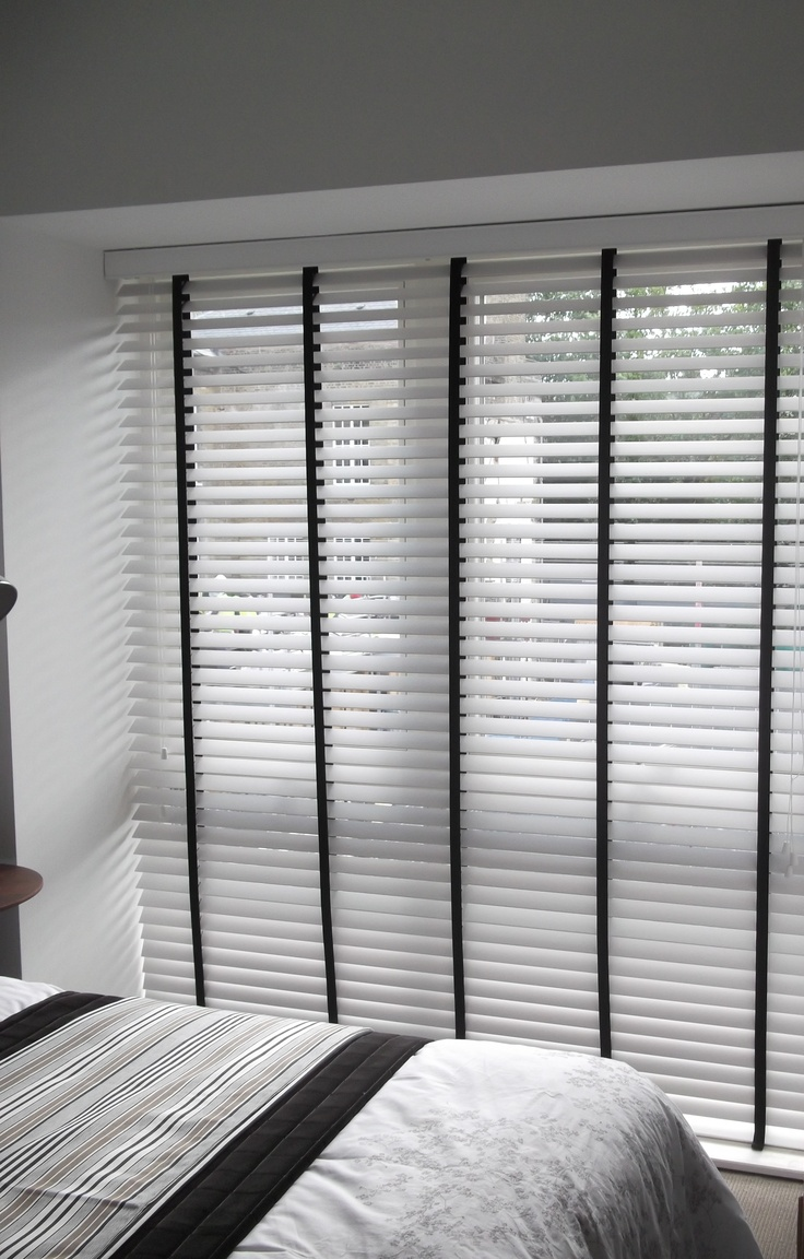 White Venetain Blinds With Black Tapes Door Wood Blinds