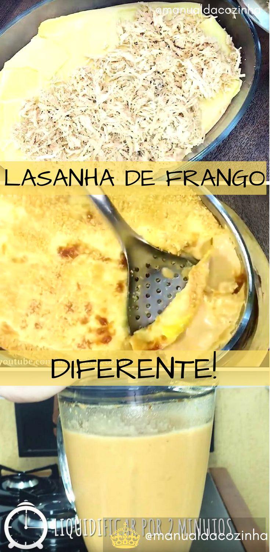 Receita de Lasanha de Frango feita de um jeito diferente, muito gostosa e fica pronta em minutos, faça para um belo almoço ou jantar! #receita #lasanha #frango #comida #culinaria #chef #cozinha #manualdacozinha #aguanaboca