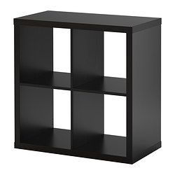 TWO OF THESE PUSHED BACK TO BACK TO MAKE A SMALL TABLE FOR CLOSET - KALLAX Shelving unit - black-brown - IKEA