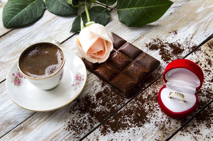 Kawa, Filiżanka, Spodek, Róża, Czekolada