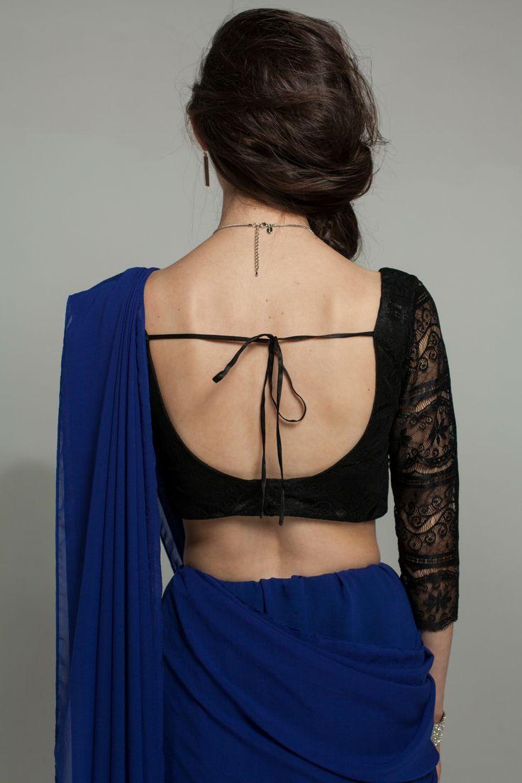 Katerina P. Lace Saree Blouse (Black)