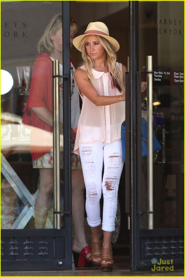 white jeans, sheer button down, hat I'm in love: Summer Hats Outfits, Style, White Pants Outfits Summer, Ashley Tisdale Outfits, Cute Outfits, White Jeans Outfits Summer, Spring Outfits, Ripped White, White Pants Outfits Ideas