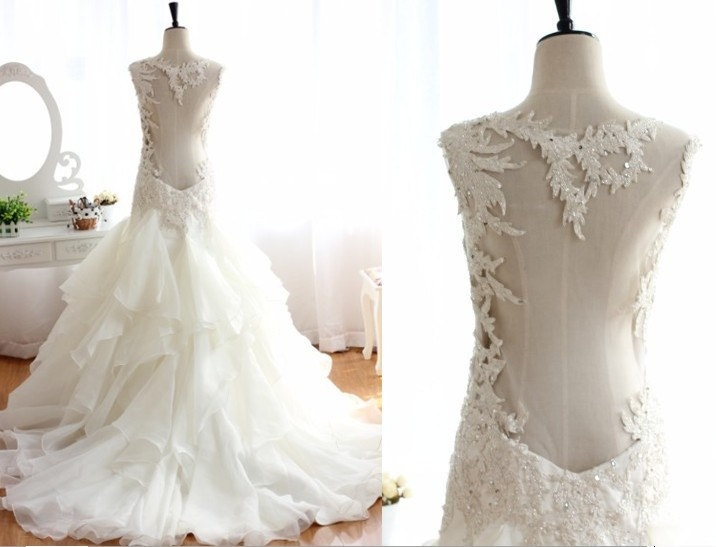 Lace Beading Open Back See through Ruffle Organza Wedding Dress Ball Gown Prom Dress