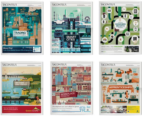 Illustrations: Raconteur covers Q1 - Q2 2012 by The Design Surgery , via Behance