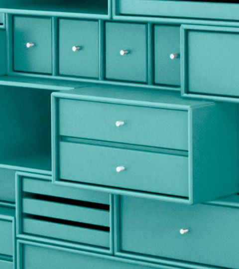shelving with drawers in mint