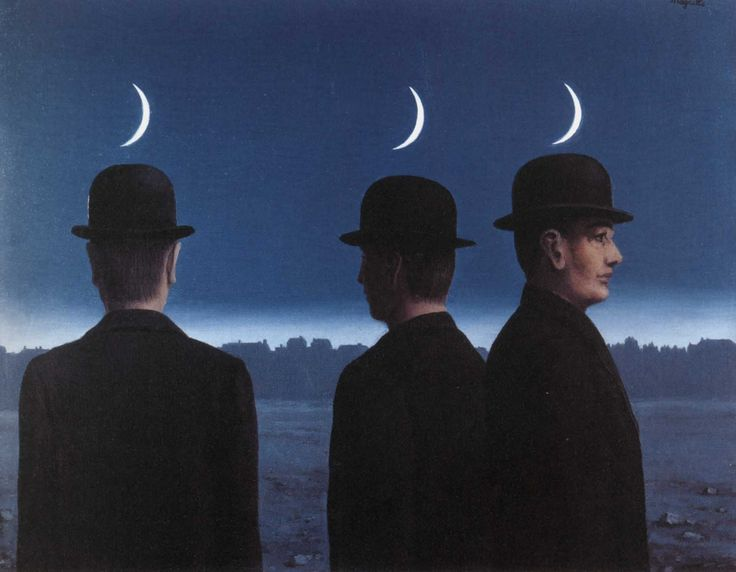 The Mysteries of the Horizon (1955) oil on canvas painting by the Belgian surrealist René Magritte ~ 1955