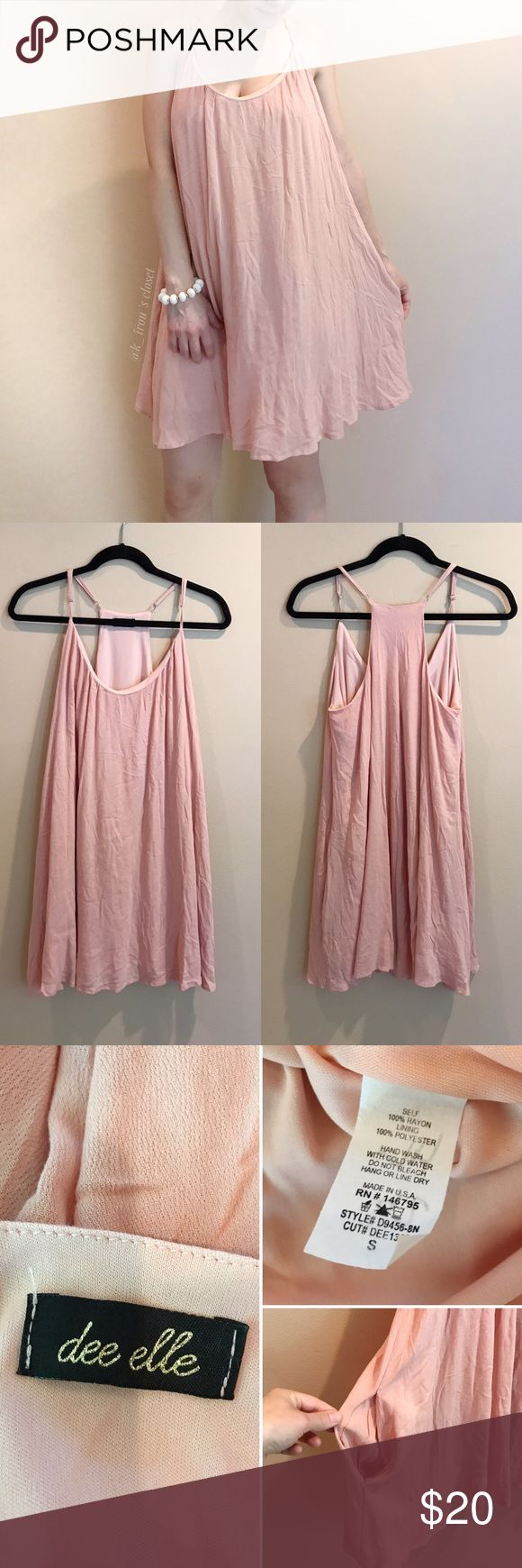 """dee elle pink shift dress Clothing brand from dee elle. Loose fitting shift dress. Adjustable straps and pocket on side. Another layer inside. Model on first photo is 5'2"""" so it the dress may look longer than the model on fourth photo. ❌trade ❌hold ✅bundle and save 10% Nordstrom Dresses Midi"""