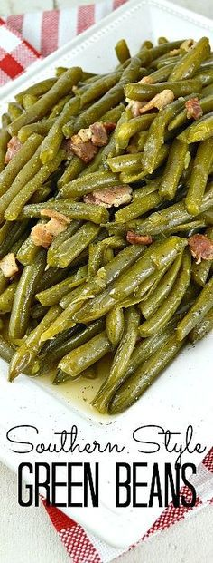 Southern Style Green Bean. Cooked low and slow to create meltingly tender Green Beans that are beyond delicious. Of course, the bacon is a huge yummy bonus! Even kids love these!!!