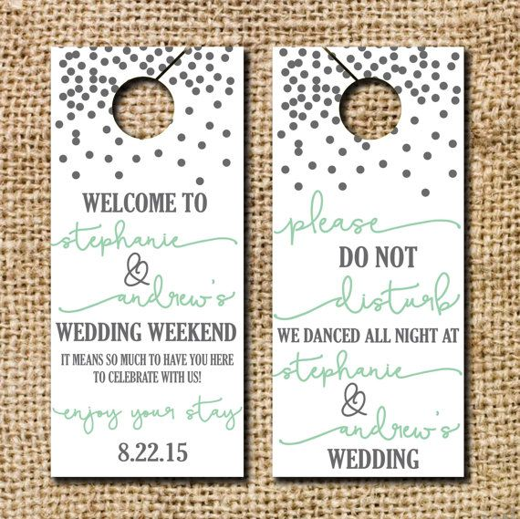 Do not Disturb Wedding Door Hangers by CamilleMonacoDesigns
