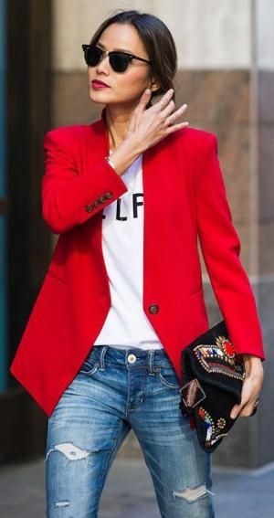 How to wear spring's hottest color.: Red On Top: Blazer