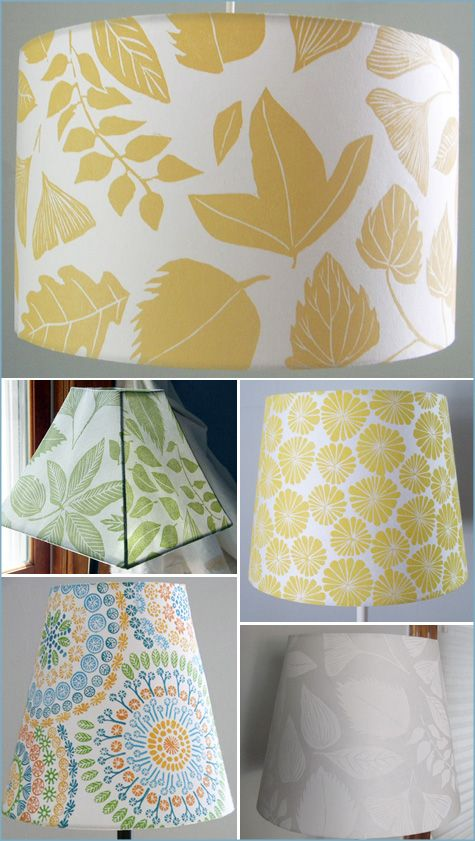 Fabric covered lamp shade....so easy and cute!