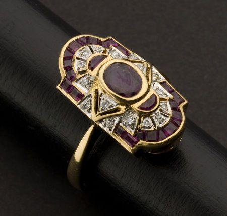 Ring | Designer ?  18kt gold, rubies, diamonds.  Art Deco.
