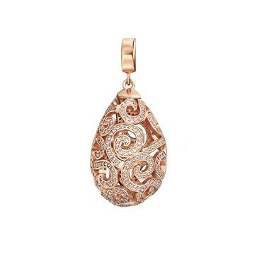 PENDANT KAGI IMPERIAL 18CT ROSE GOLD PLATED HANDSET PAVE CUBIC ZIRCONIAS 20X32MM - Jons Family Jewellers