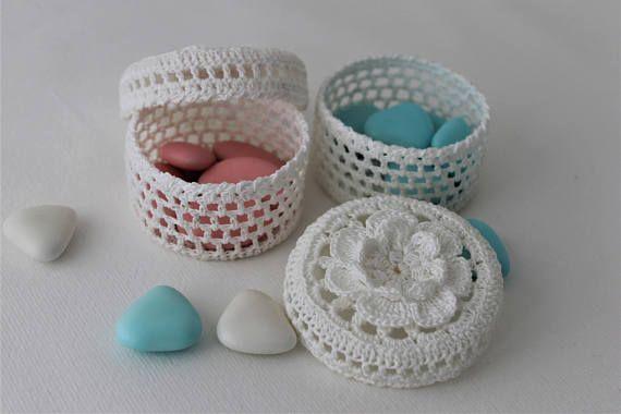 Bomboniere Ad Uncinetto Scatoline Portaconfetti Segnaposto Bomboniere Per Battesimo Comunione Cresima Nozze Ordi Handmade Crochet Baptism Favors Crochet