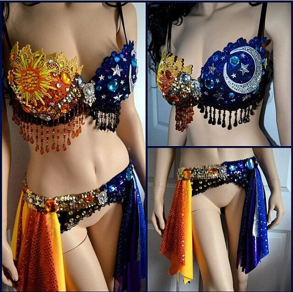 Sun and Moon Outfit, above and beyond, rave bra, rave outfit, galaxy, Halloween costume, garter belt