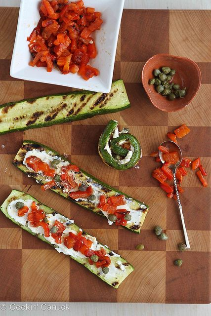 Grilled Zucchini Roll Recipe with Goat Cheese, Roasted Peppers & Capers: Goats, Grilled Zucchini, Food, Cookincanuck Com Vegetarian, Goat Cheese, Zucchini Rolls, Vegetarian Recipes