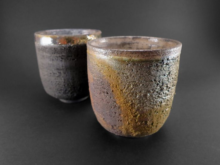 Carbon and Moss Cappuccino Cups - Ildikó Károlyi #ceramics #raku #design