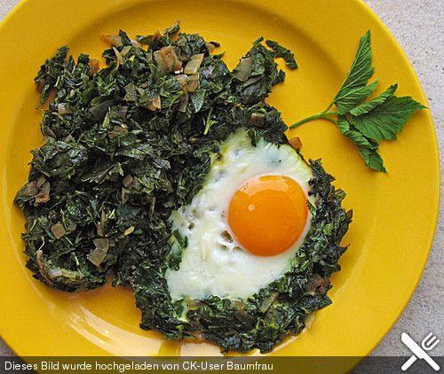 Giersch mit Kartoffelschnee und Ei