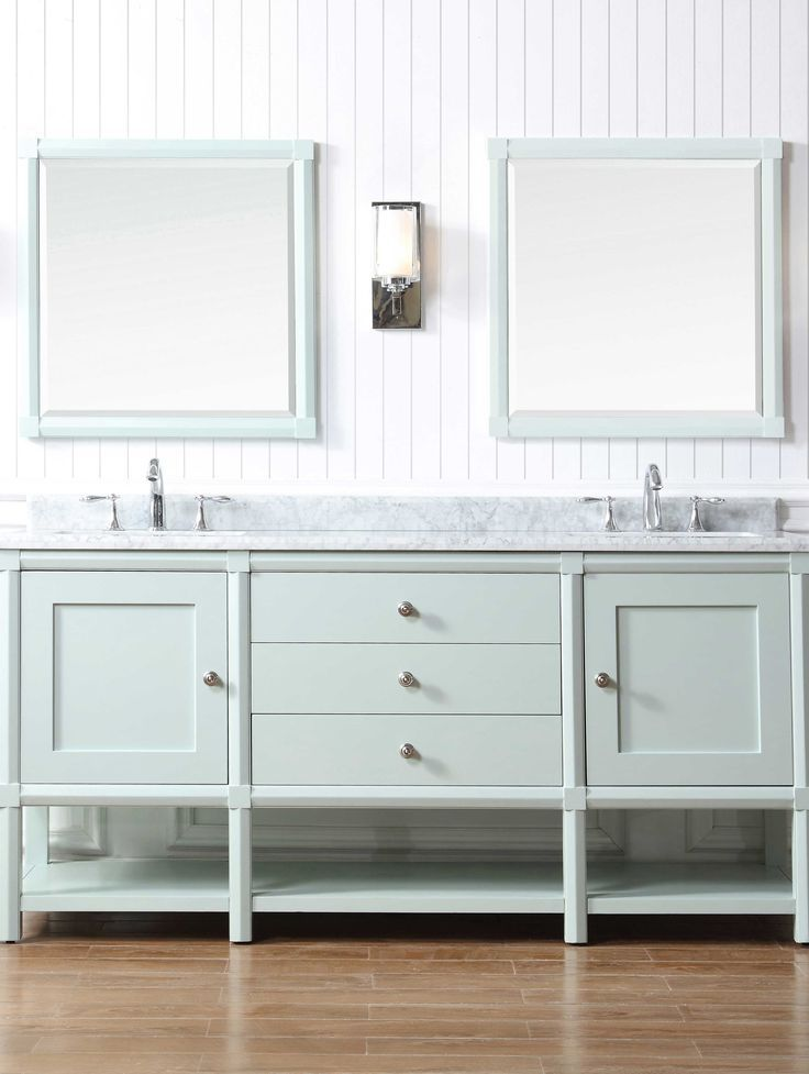 Martha Stewart Living Sutton 72 In W X 22 In D Vanity In Rain Water With Marble Vanity Top In