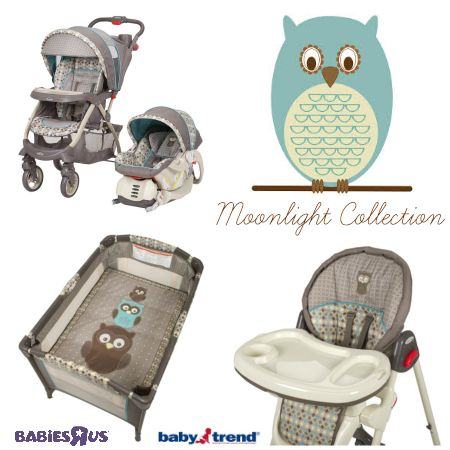 Like owls? You'll LOVE the new Babies R Us exclusive Baby Trend Moonlight Collection! (high chair, playard, stroller, & carseat)